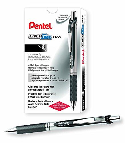 Pentel EnerGel RTX Retractable Liquid Gel Pen, 0.7mm Medium Line, Metal Tip, Black Ink, 12 Pack (BL77-A)