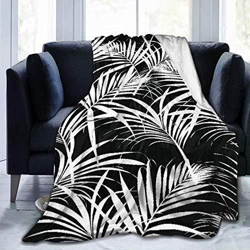 AIMILUX Manta de Franela Suave,Patrón de Hojas Tropicales de Palma Azul Color Negro Hoja Fern Island Follaje Flor Árbol Diseño,Cama de Camping para sofá 204x153cm