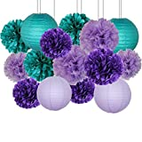 JSSEVN Pompones de papel de seda, 12 unidades de pompones de papel multicolor y 4 farolillos de papel para decoración de bodas, pompones de papel de seda para fiestas de cumpleaños