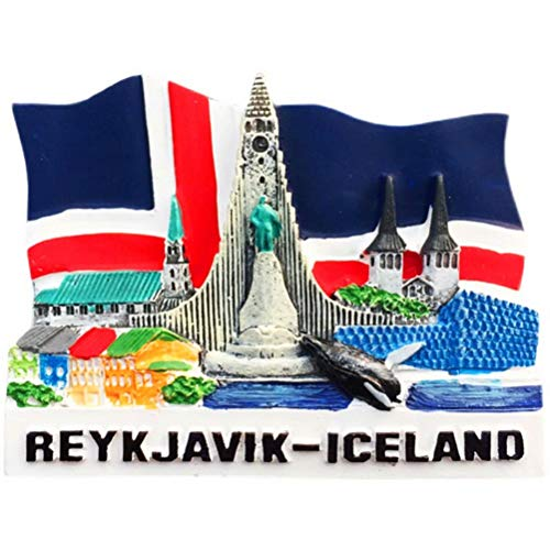 'N/A' Islandia Bandera Landmark Rorcual común Imán de Nevera 3D Artesanía Souvenir Imanes de Nevera de Resina Colección Regalo de Viaje