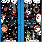 YUSONGIRL Christmas Window Stickers for Glass White Snowflakes Window Clings Xmas Decal for Party and Holiday Christmas Decorations Ornaments with Santa Claus Reindeer Snowman Child Elements