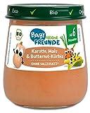 FRECHE FREUNDE Freunde Bio Gläschen Karotte, Mais & Butternut-Kürbis, Bio-Gemüsepüree mit Olivenöl für Babys ab 6 Monaten, ohne Zucker- und Salzzusatz, vegan, 6er Pack (6 x120 g)