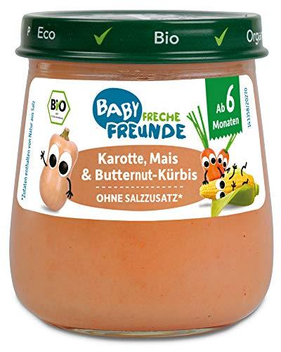 Freche Freunde Bio Gläschen Karotte, Mais & Butternut-Kürbis, Bio-Gemüsepüree mit Olivenöl für Babys ab 6 Monaten, ohne Zucker- und Salzzusatz, vegan, 1290 g