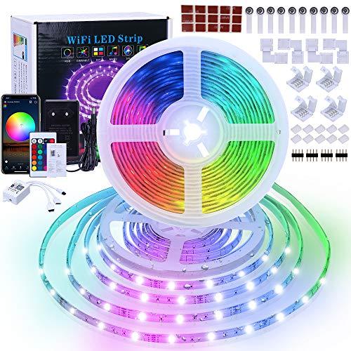LED Strip 10M, RGB 5050 LED Streifen Wasserdicht, WIFI LED Stripband 12V mit IR Fernbedienung und Netzteil, Farbwechsel, Sync mit Musik, App-steuerung, Timer-Einstellung, für Party TV Küche Bar