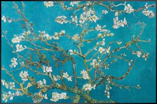 ポスター ゴッホ/花咲くアーモンドの枝+アルミフレーム(ブラック)セット PAS-0014B