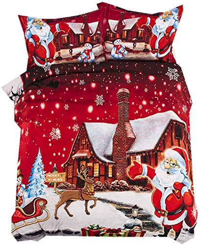 Juego de ropa de cama con impresión 3D, diseño de Papá Noel, multicolor de microfibra, para habitación de niños y adultos (K,220 x 240)