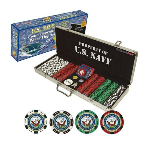 Navy Clay-Filled 500 Poker Chip Set with Custom Cas