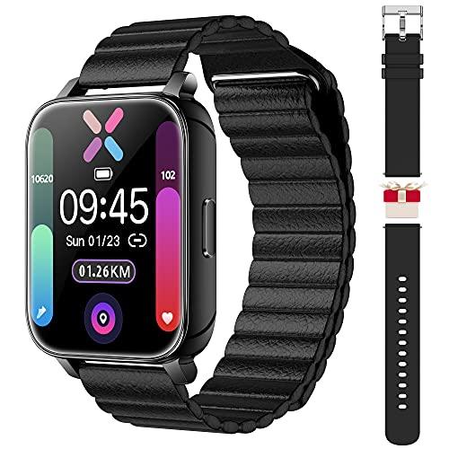 Smartwatches für Herren Damen 1,69 Zoll Touchscreen Fitness Smartwatch Tracker IP68 wasserdichte Tracker-Uhr mit Pulsuhr und Schlafmonitor, Schrittzähler Sport Laufuhr für Android und iOS