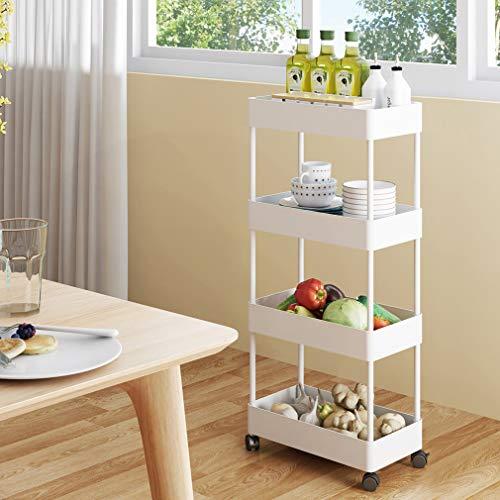 Küchenregal Schmal auf Rollen, YOOKEA Mobiles Regal mit 4 Ebenen, Nischenregal Küche, Standregal Rollwagen Weiß, Platzsparendes Badregal Servierwagen für Küche, Bad, Schlafzimmer, Wohnzimmer