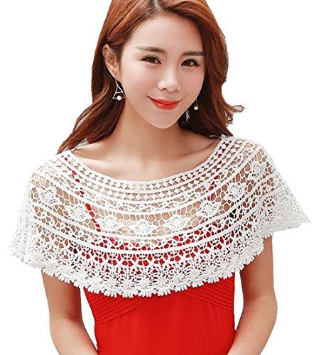 Cheerlife Mädchen Damen Knit Spitze Häkel Netzoberteil Netzshirt Häkelshirt Partytop Sommerpulli kurz Jäckchen für Kleid Weiß 1