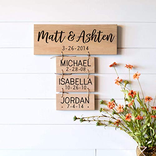 Family Names Wood Sign | Anniversary Gifts | Wedding Gifts | Personalized for you | Family...