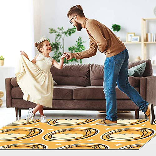 Kids Area Rugs Cute Funny Dogecoin Character Seamless Pattern Hand Drawn 3D Rugs for Playroom Bedroom Classroom Decor Yoga Mat Non-Slip Floor Outdoor Mat Carpets for Kids 4×6 ft