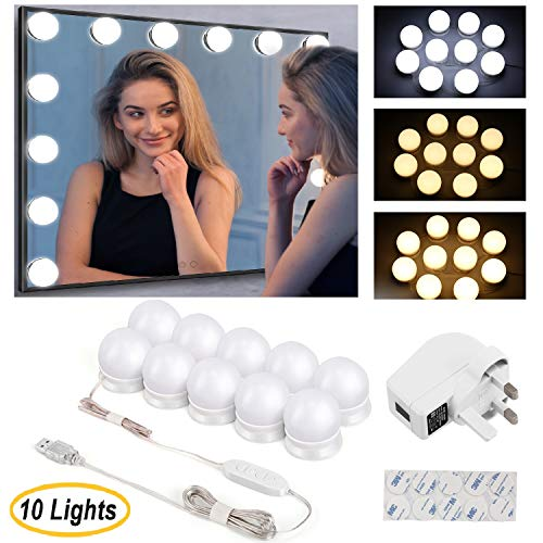 Kohree Schminktisch Beleuchtung Hollywood Licht LED Spiegelleuchte Spiegel mit 10 Dimmbar Schminklicht und 3 Farbmodi für Schminkspiegel, Kosmetikspiegel, Schminktisch Zubehör 10 LED Lampen /USB 5.3M