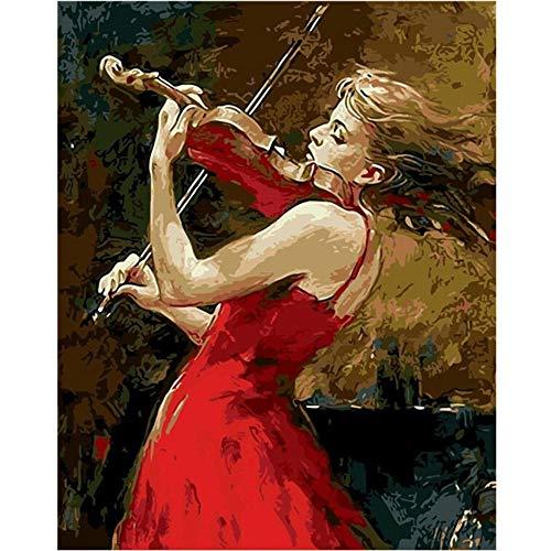 wwdfdd Malen Sie nach Nummer Kit, DIY Ölgemälde Zeichnung Leinwand mit Pinsel Dekorationen Geschenke - 16 * 20 Zoll Rahmenlos,Mädchen spielt Geige