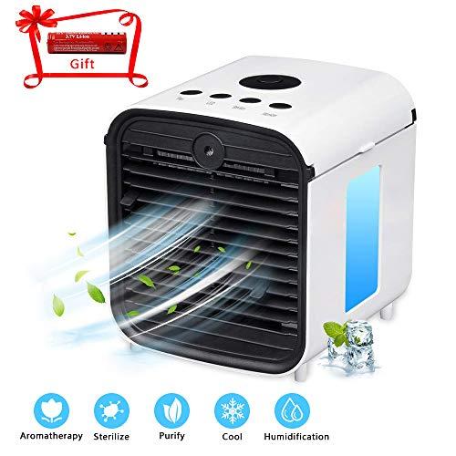 ZEHNHASE Mobile Klimageräte, Mini Luftkühler Air Cooler Mit USB-Anschluss und Akku, Luftreiniger und Aroma Diffuser, 3 Leistungsstufen, 7 Verschiedene Farben