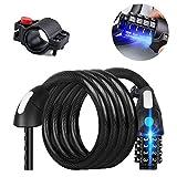 Bicicleta de bloqueo de cable, 6 pies de cable de bicicletas con LED de luz de la noche de 4 dígitos candado de bicicleta reajustable combinación arrolla moto cable de seguridad con soporte for bicicl