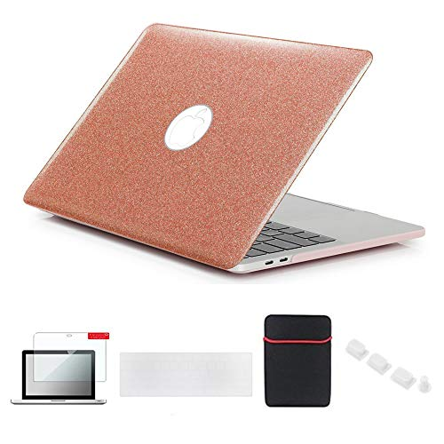 Se7enline Compatible with Macbook Pro 13 inch Case A2338/A2251/A2289/A1706/A1989/A2159 2016-2021 Glitter Bling Laptop Cover with Sleeve,Keyboard Cover, Screen Protector,Dust plug, Shining Rose Gold