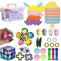 感じのおもちゃ泡の山スクイーズ減圧おもちゃ プッシュポップバブルフィジェットスクイーズおもちゃおもちゃ、減圧おもちゃ、、子供と大人のためのストレス解消おもちゃ (26個+収納ボックス)
