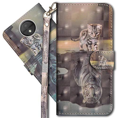MRSTER Moto C Plus Handytasche, Leder Schutzhülle Brieftasche Hülle Flip Hülle 3D Muster Cover mit Kartenfach Magnet Tasche Handyhüllen für Motorola Moto C Plus. YX 3D - Cat Tiger