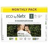 Eco by Naty Pañales, Talla/Tamaño 1, 100 unidades, 2-5 kg, suministro para UN MES,...