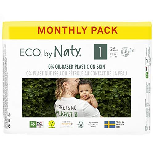 Eco by Naty, Taille 1, 100 Couches, 2-5kg, Soit Un Mois d'Utilisation. Couche Écologique Fabriquée à Partir de Fibres Végétales, 0% de Plastique (Issu du Pétrole) au Contact de La Peau de Bébé