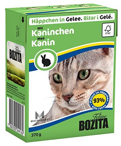 BOZITA Häppchen in Gelee Nassfutter mit Kaninchen - Getreidefrei - 16 x 370 g - nachhaltig produziertes Katzenfutter für erwachsene Katzen - Alleinfuttermittel