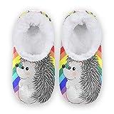 TropicalLife JNlover Animal Erizo Rainbow Mujeres Hombres Cerrado Back House Pantuflas Confort Coral...