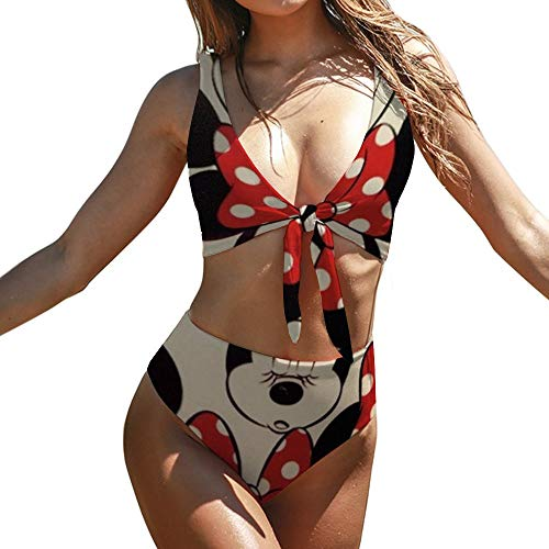 Minnie Patterns Adult Two Piece Swimsuit with Tape for Women Pools Beach and Sandy Beach