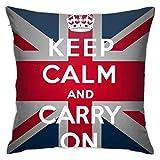 ChenZhuang Funda de cojín para sofá, dormitorio, coche, diseño de bandera británica, con texto en inglés 'Keep Calm Carry On'