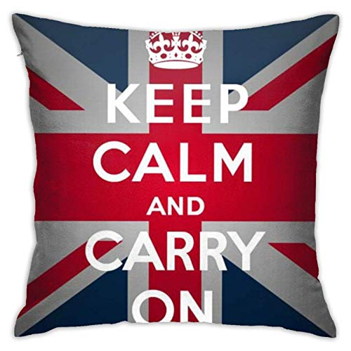 """ChenZhuang Funda de cojín para sofá, dormitorio, coche, diseño de bandera británica, con texto en inglés """"Keep Calm Carry On"""""""