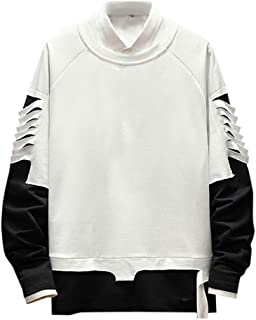 iLOOSKR Winter Fashion Men Lightweight Pullover Long Sleeve Sweatshirt Plus Size Tops Blouse