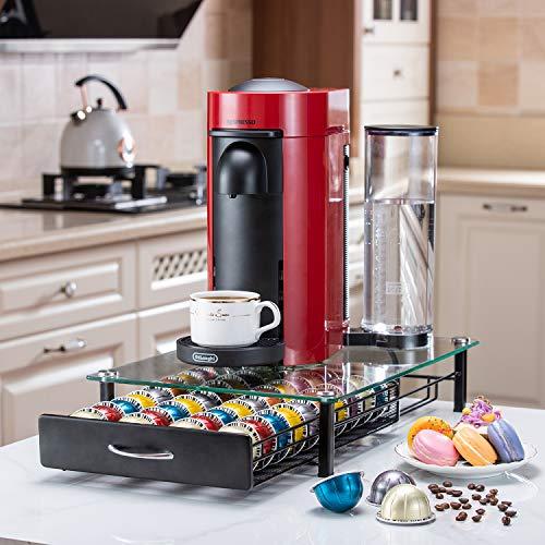Flagship for Nespresso Pod Holder Drawer Coffee Pod Organizer Storage for Nespresso Capsules Holder Glass Storage Tray Vertuo 40 Pods