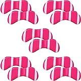 靴擦れ パカパカ 防止 かかと パッド 5足 セット 長時間歩行 美脚 くつズレ 防止 保護 クッション 素材 ヒール スニーカー パンプス ビジネス 安心安全メーカー45日間 保証書付属 男女兼用 (ピンクストライプ)