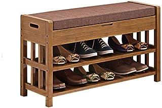 ZXJshyp Wood Storage Shoe Shelf Change The Shoes Stool, Shoe Rack Bamboo Living Room Office Kitchen Outdoor Shoe Cabinet (...