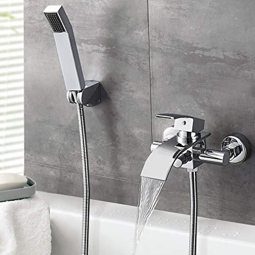 Auralum Badewannenarmatur mit Handbrause, Brauseschlauch und Brausehalter, Messing Einhebel-Wannenarmatur Duscharmatur Wasserfall Wannenbatterie Badarmatur Duschset Duschsysteme für Badewanne