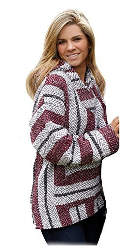 Baja Joe Striped Woven Eco-Friendly Jacket Coat Hoodie (Large,...