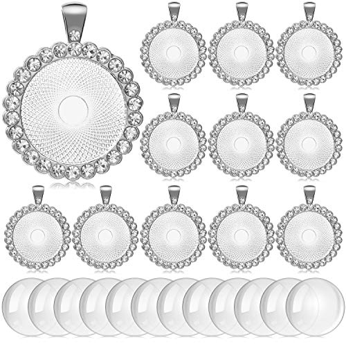 12 Pieces Rhinestone Diamond Pendant Trays 25 mm Round Bezel Pendant Trays and 12 Pieces Transparent Glass Cabochons for Photo Pendant Jewelry Craft DIY Making (Silver)