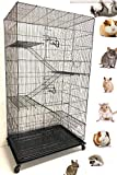 Mcage X-Large 5-Levels Ferret Chinchilla Sugar-Glider Rats Mice Gerbil Cage with Removable Stand, 32-Inch by 19-Inch by 60-Inch (Black Vein)
