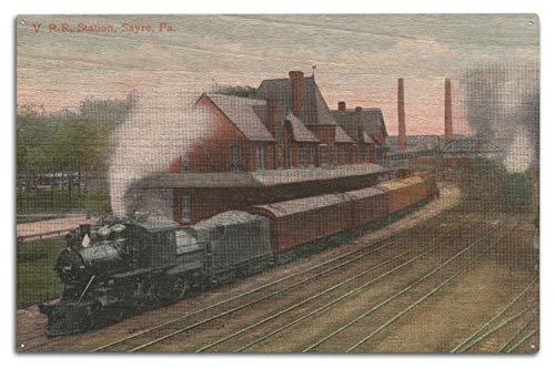 Lantern Press Sayre, Pennsylvania - Lehigh Valley Railroad Station (10x15 Wood Wall Sign, Wall Decor Ready to Hang)