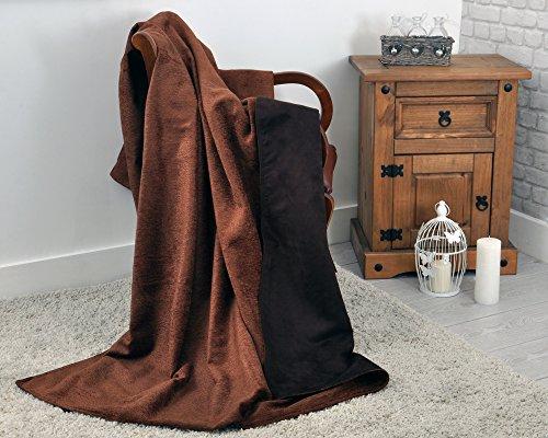 Chenille et simili daim réversible Couvre-lit/couverture 140 cm x 200 cm en Marron chocolat – Idéal pour canapés ou Lits