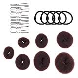 Lurrose donut Bun Maker Set de 4 tamaño marrón oscuro Bun Maker con 10 piezas en forma de U horquillas para el cabello y 5 piezas lazos para el cabello para niñas y mujeres