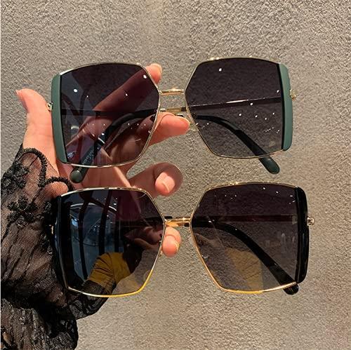 ZHWY Gafas de Sol, Gafas de Sol cuadradas de Montura Grande con láser para Mujer, Gafas Grandes de Moda, adecuadas para Conducir, Hacer Senderismo, Pescar, IR de Compras y para Uso Diario,Rosado