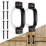 Rustic Metal Black Barn Door Handle Pull Set of 2, Indoor or Outdoor Farmhouse,...