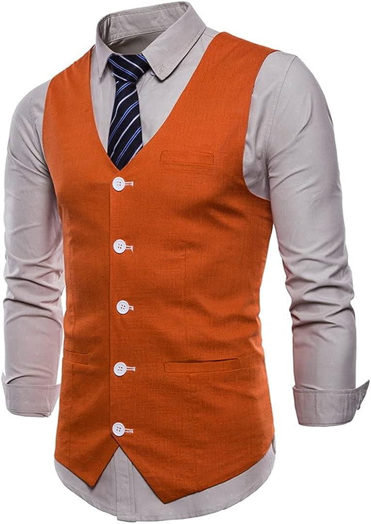Ciystekn Mens Casual Green Cotton Linen Suit Vest Spring Waistcoat Men Business Wedding Dress Vest Waistcoat