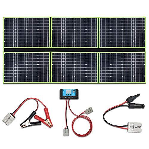 YUANFENGPOWER 300w 12 V Falten Solarpanel Solar Ladegerät 6 x50w 20v solarmodul monokristallin mit 30A Laderegler für Boot, Auto, Caravan, Wohnmobil, Camping, 12v Batterie Power Charging (300)