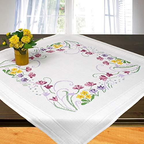 Ernst Schäfer Stickpackung Sommerzeit, Kreuzstich Tischdecken Set vorgezeichnet zum Sticken, Stickset zum Selbersticken