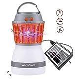 Anordsem Lampe de Camping LED Rechargeable UV avec Fonction Bug Zapper Chargeur USB et Chargeur Solaire pour extérieur, Camping, randonnée, contrôle, Gris