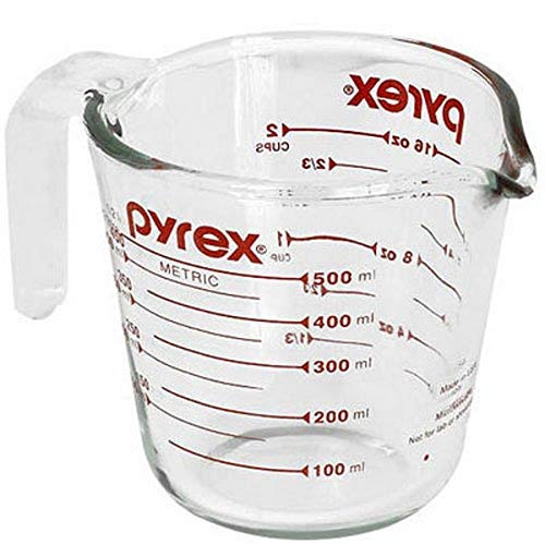 Pyrex Glass Measuring Cup 2 Cup ( 16 Oz ) Glass Red by World Kitchen (Corning Revere)