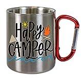 Creativ Deluxe Edelstahltasse mit Carabiner Happy Camper Blechtasse, Campingtasse,Kaffeetasse mit Motiv,Bürotasse, Bedruckte Tasse mit Sprüchen oder Bildern