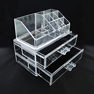 Luxury Acrylic Cosmetic Organizer Makeup Box 2 Drawers 1063 Top and Bottom Set